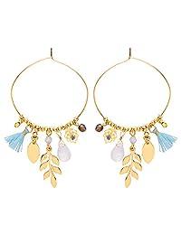 前排金彩色蓝色流苏和吊饰环状耳环