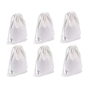 Augbunny * 纯棉帆布礼品袋,带抽绳,6 条装 白色 小号 B-12-WS