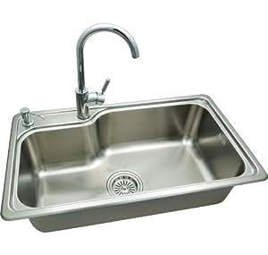 LC朗程精品不锈钢水槽套餐LC-8011+LC-008(六件套:盆体+龙头+皂液器+菜板+沥水蓝+下水器)
