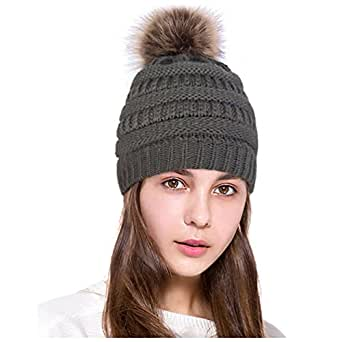 Lamdgbway Pom Pom Beanie 帽子厚实冬季针织帽弹力人造毛皮头骨帽 深灰色 One Size