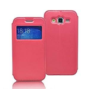 Roar [窗口视图][立式视图][身份证/信用卡插槽][修身][混合颜色],Samsung Galaxy J5 J500 的防摔 PU 皮 LTH- Rosy