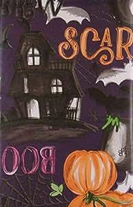 "Scary Witches Brew 万圣节乙烯基法兰绒背桌布 Purple Background 52"" x 90"" Oblong"
