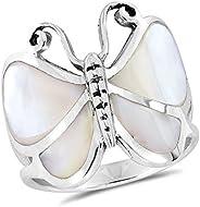 AeraVida 白色珍珠母蝴蝶 925 纯银戒指