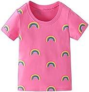 幼童女童 T 恤短袖襯衫獨角獸印花棉質夏季上衣 T 恤鯊魚圖案