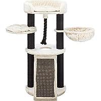 Trixie Bovina 奶油色/黑色设计师猫塔,适合大型猫,多只猫,带有两个抓柱,爬坡,吊床,结实的游戏绳,两个平台,顶部平台垫有靠背
