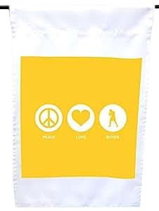 Rikki Knight 和平爱拳师黄色房子或花园旗帜,30.48 x 45.72 cm 旗帜尺寸带 27.94 x 27.94 cm 图像
