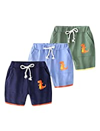 WINZIK 幼儿男童夏季短裤棉质休闲运动裤儿童弹力腰带短裤带口袋 18M-7Y