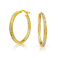 Bling Jewelry 贝灵珠宝 婚礼款 内外圈镶锆石 镀金925银圈式耳环 1.25英寸