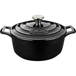 LA cuisine LC 4100MB 铸铁砂锅带哑光黑色内饰 黑色 2.2 quart