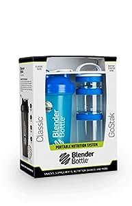 Blender Bottle 组合套装 蛋白粉摇摇杯运动水杯+ 3层储物盒 28oz(约800ml) TZ283-AH 蓝色