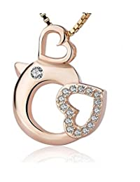 BGTY Sterling Silver Chicken Cute Animal Shaped Love Heart Pendant Necklace for Women