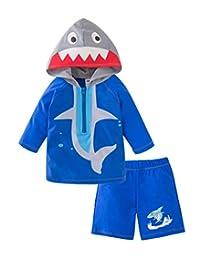 Styles I Love 幼童男孩鲨鱼连帽*服和短裤 2 件套泳衣沙滩泳装