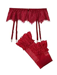 Shein 女士蕾丝吊袜带套装,异域风袜 2 件套无内裤