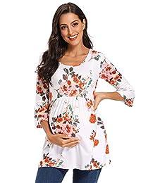 Love2Mi 女式条纹孕妇上衣七分袖衬衫休闲超柔软孕妇衬衫 Floral100 Small