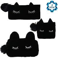 SOTOGO 3 件装黑猫化妆包铅笔盒化妆刷盒旅行手包钱包