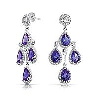 Bling Jewelry 贝灵珠宝 合成紫水晶 皇冠镶嵌锆石 泪滴状 吊坠型镀铑耳环