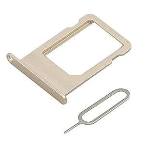 MMOBIEL Sim 卡托盘支架替换件适用于 iPhone 6 Plus 5.5 英寸。 SIM 别针和清洁布iPhone 6 Plus A1522 A1524 A1593 金色