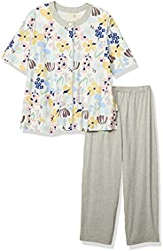 Wacoal 華歌爾 睡衣 6分袖 8分褲 彩色花圖案 EP8036 奶油色 日本 L (日本サイズL相當)