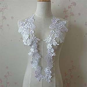 1 对刺绣贴花婚礼蕾丝花卉图案缝纫装饰 白色 Z064