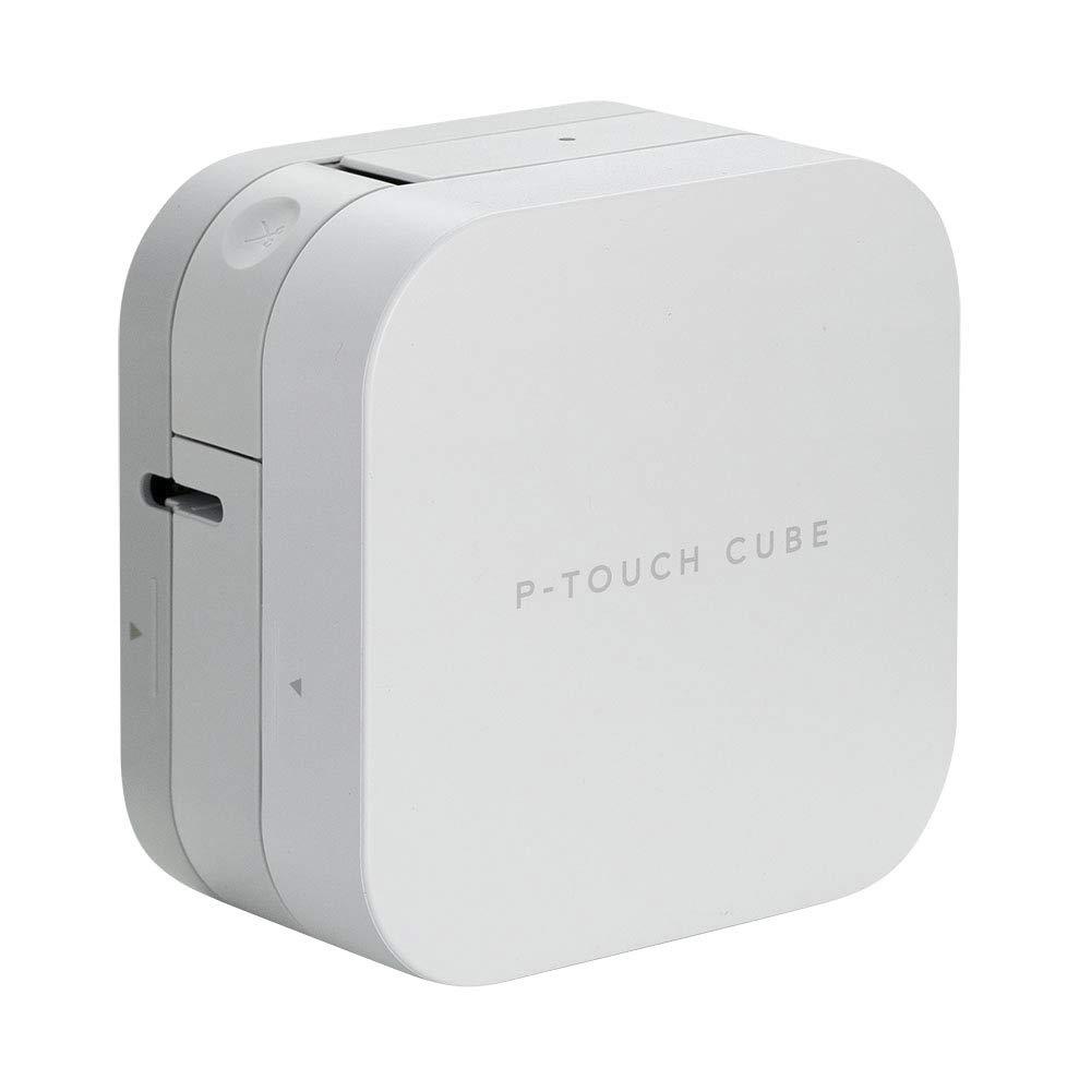 ブラザーP-タッチキューブスマートフォンラベルプリンタ、Bluetoothワイヤレステクノロジー、AppleとAndroidの互換性を持つ複数のテンプレート - 白