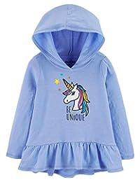 OshKosh B'Gosh 女孩连帽独角兽独特荷叶边束腰长袖上衣长春花蓝色,24 个月
