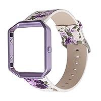 MeShow TCSHOW 柔软 PU 皮革牧场/农村花卉风格替换带腕带金属适配器兼容 Fitbit Blaze M 码