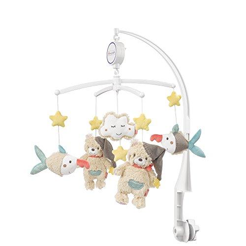 Fehn 060249 音乐盒 Bruno 系列 转动音乐架 带天鹅 兔子和花朵图案 用于聆听和梦幻 可固定在婴儿床上 适合 0 - 5 个月宝宝 高度 65 厘米 直径 40 厘米