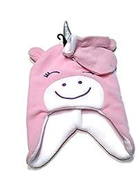 女童帽子和手套套装,浅粉色独角兽羊毛帽和浅粉色配白色带针织手套