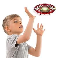 兒童或成人手工操作無人機 - Scoot 免提迷你無人機直升機,簡易室內小球形飛行球無人機玩具男孩或女孩 紅色