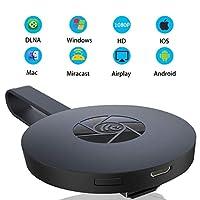 HONTECH Miracast 无线显示电子狗接收器,Chromecast *二代 HDMI 媒体视频数字流传输器 1080P 高清适配器 适用于智能手机 IPad 和 PC