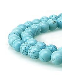 BRCbeads 天然宝石散珠水晶能量石愈合力用于珠宝制作、6、8、10mm 蓝绿色 8mm 43210-999