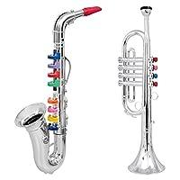 Click n' Play 2套儿童管乐器-金属银色萨克斯和小号角