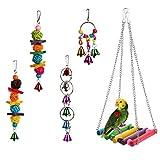 HAPPYTOY 鸟鹦鹉玩具套装适用于鸟笼,彩色咀嚼悬挂秋千玩具铃,梯子秋千,适用于小型鹦鹉、金刚鹦鹉、鹦鹉、大鹦鹉、Conures、鸡尾鹦鹉、爱鸟