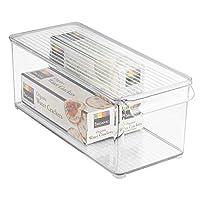 InterDesign Kitchen Fridge Freezer Pantry Storage Organizer Bin with Lid, 6-Inch by 6-Inch by 14.5-Inch, Clear