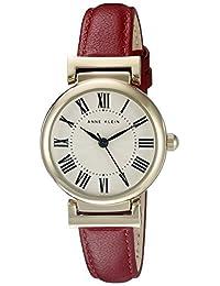 ANNE KLEIN 女士 皮革表带手表,Red/Gold,AK/2246CRRD