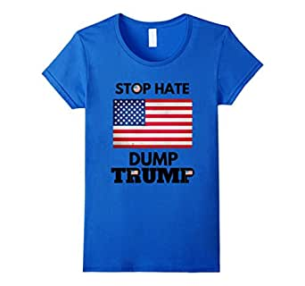 女式 Stop Hate Dump Trump T 恤 - Anti Donald Trump 2016 S 码皇家蓝