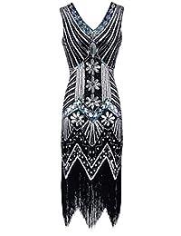 女式 20 年代加斯亮片新艺术装饰流苏鸡尾酒会挡板连衣裙