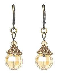 玻璃耳坠 - 复古金色调 (E588)
