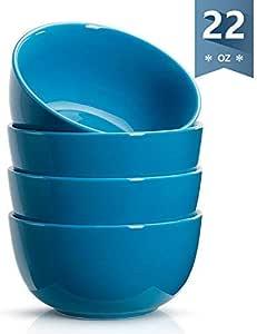 Sweese 瓷碗 - 660 毫升适合谷物、汤和甜点 - 4 件套 钢蓝色 Large bowls-set 4-sky blue