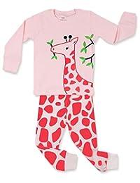 "Elowel Little Girls""Giraffe"" 2 Piece Pajama Set 100% Cotton (Size6M-8Y)"