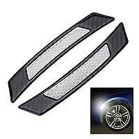 iJDMTOY 对通用白色反光侧标贴纸带外部黑色碳纤维装饰用于汽车 SUV 卡车车轮滑落拱形或侧保险杠/挡泥板