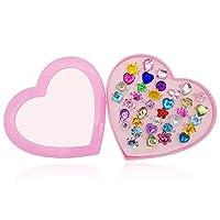 Fuhengli 戏服首饰戒指套装适合小女孩幼儿儿童,形状和颜色随机,装扮公主首饰可爱装饰配件 - 36 件