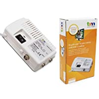 TM Electron tmamp001 - 放大器室内电视天线适用于 UHF/VHF 带 2 个输出,白色