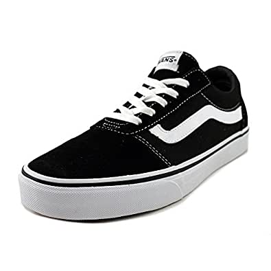 VANS 范斯 女式 Ward 低帮运动鞋 Black ((Suede/Canvas) Black/White Iju) 2.5 UK