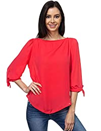 VIA Jay 女式基本款休闲宽松七分袖衬衫
