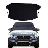 冰雪汽车挡风玻璃盖 - 雨刮器保护罩 - 适用于SUV、货车、卡车通用汽车的防水汽车挡风玻璃防尘罩 - 坚固的保鲜袋 - 保持车辆外部冰爽和清洁