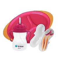 b.Box b.Box 幼兒喂食套裝 - 鴨嘴杯、餐具套裝和分隔板 Strawberry Shake