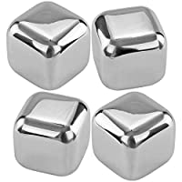 Southern Homewares Stainless Steel Chilling Ice Cubes Reusable For Whiskey Wine Beverage (Set of 4), Silver