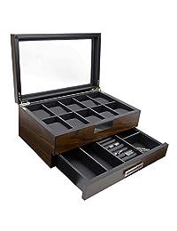Decorebay Executive 木制手表盒 Valet Box 太阳镜和首饰盒收纳盒(周心)