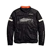 Harley-Davidson 官方男士 Screamin' 老鹰网格骑行夹克,黑色